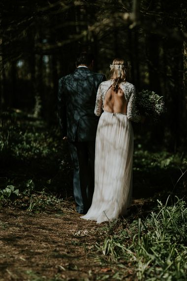 Bride In Backless Needle & Thread Dress // Image By Enchanted Brides Photography