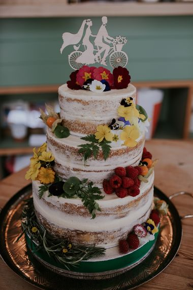 Semi Naked Wedding Cake // Woodland Wedding With A Botanical Greenhouse Reception // Image By Enchanted Brides Photography