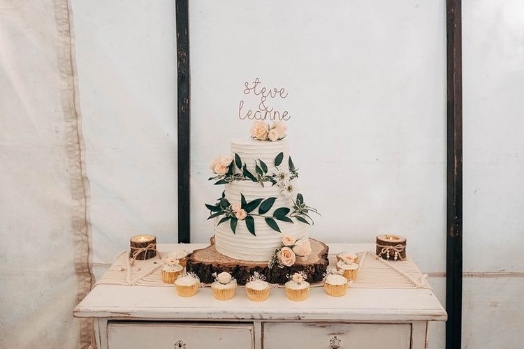 Buttercream Wedding Cake With Fresh Flowers // Images By Dale Weeks Photography