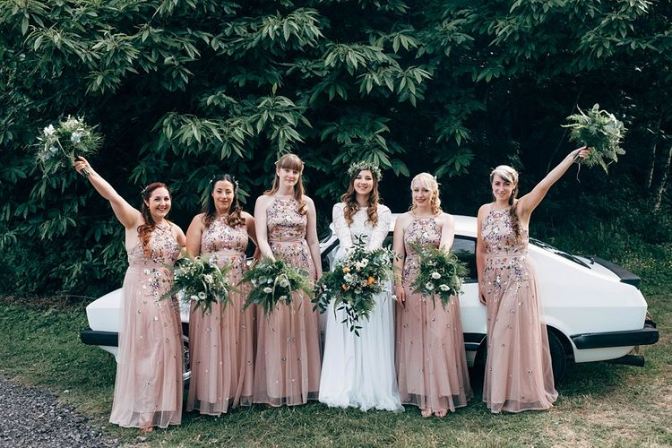 Bridesmaids In Pink Floral Dresses //  Images By Dale Weeks Photography