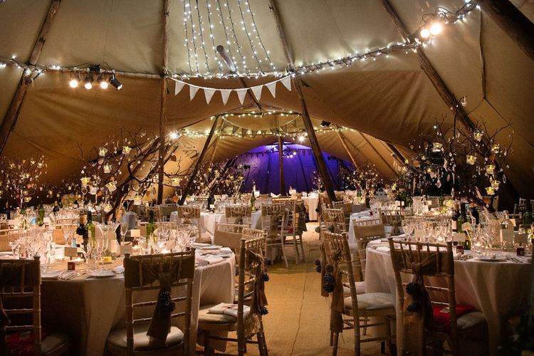 Lighting Ideas For Tipi Weddings // Image By Barker Evans Photography