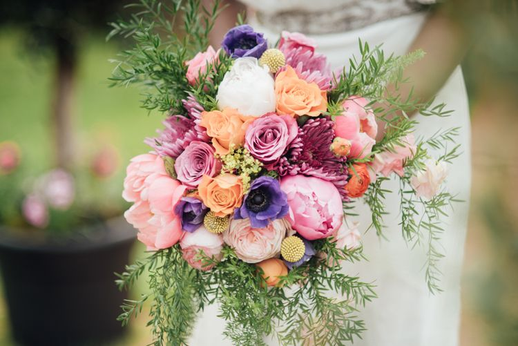 Peony & Rose Wedding Bouquet In Pinks, Purples & Corals // World Inspired Tents Tipi Hire For Weddings South West England & Wales Tipi Hire Rock My Wedding The List Tipi Hire Supplier
