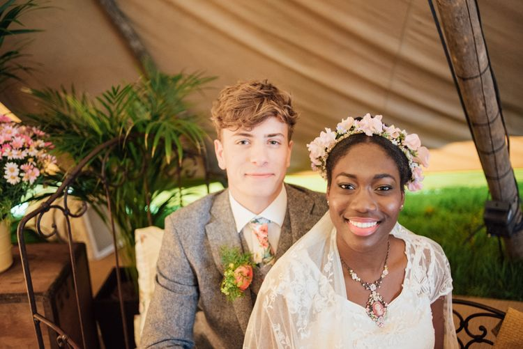 Bride in Pink Faux Flower Crown // World Inspired Tents Tipi Hire For Weddings South West England & Wales Tipi Hire Rock My Wedding The List Tipi Hire Supplier