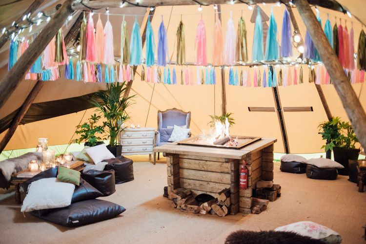 Fire Pit In Tipi // World Inspired Tents Tipi Hire For Weddings South West England & Wales Tipi Hire Rock My Wedding The List Tipi Hire Supplier