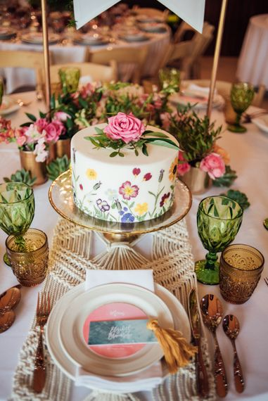 Painted Wedding Cake From Edible Essence // World Inspired Tents Tipi Hire For Weddings South West England & Wales Tipi Hire Rock My Wedding The List Tipi Hire Supplier
