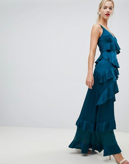 Blue Ruffle Tiered Maxi Dress For Bridesmaids From Y.A.S.