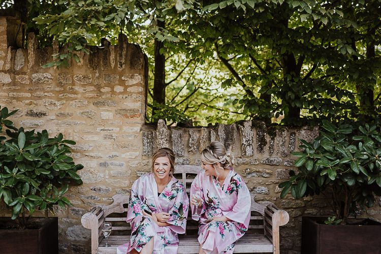 Bridesmaids in Pink Getting Ready Robes | Fairylight Tythe Barn Wedding with Dreamcatchers | New Forest Studio Photography