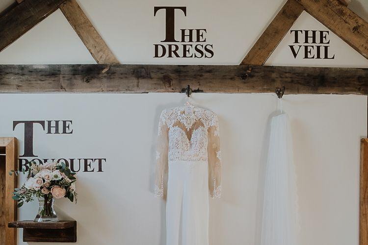 Martina Liana Wedding Dress | Fairylight Tythe Barn Wedding with Dreamcatchers | New Forest Studio Photography