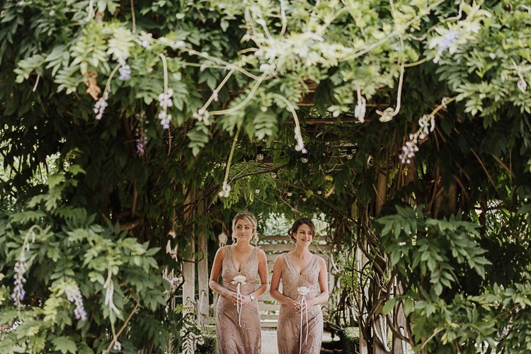Mismatched Blush Bridesmaids Dresses  from ASOS | Fairylight Tythe Barn Wedding with Dreamcatchers | New Forest Studio Photography
