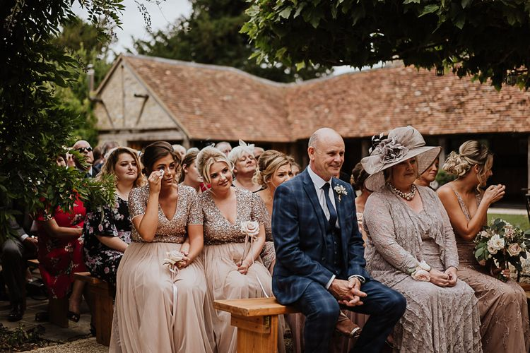 Wedding Guests | Mismatched Blush Bridesmaids Dresses  from ASOS | Father of the Bride in Blue Check Suit | Mother of the Bride in Blush Pink | Fairylight Tythe Barn Wedding with Dreamcatchers | New Forest Studio Photography