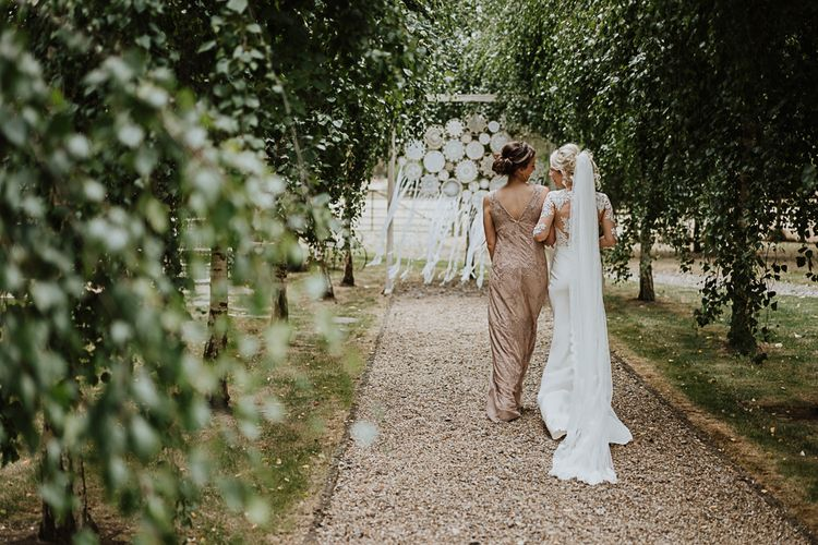 Dreamcatchers | Bride in Lace Martina Liana Wedding Dress with Long Sleeves | Fairylight Tythe Barn Wedding with Dreamcatchers | New Forest Studio Photography