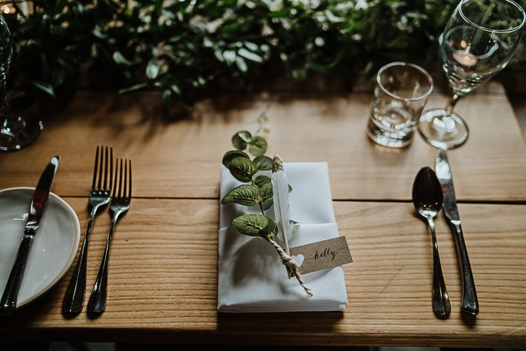 Feather and Foliage Place Name Setting | Wedding Reception Decor | Fairylight Tythe Barn Wedding with Dreamcatchers | New Forest Studio Photography