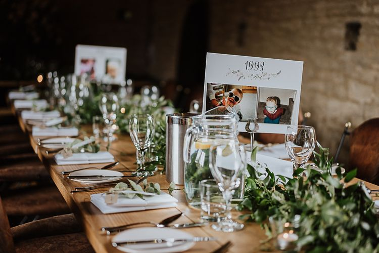 Wedding Reception Decor | Photo Table Name | Banquet Tables | Ivy | Fairylight Tythe Barn Wedding with Dreamcatchers | New Forest Studio Photography