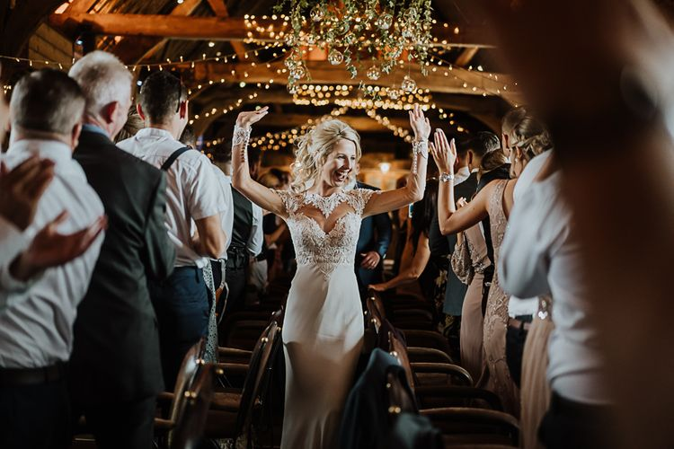 Bride in Lace Martina Liana Wedding Dress with Long Sleeves | Fairylight Tythe Barn Wedding with Dreamcatchers | New Forest Studio Photography