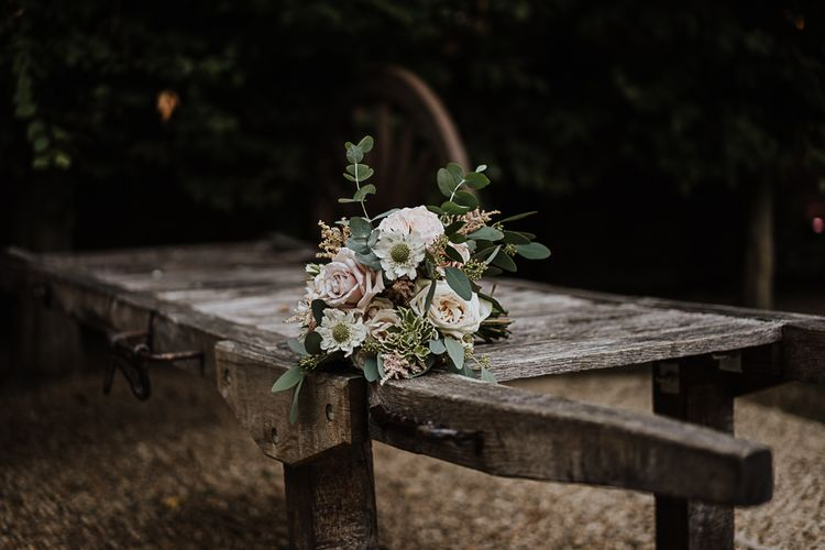 Pastel Bridal Bouquet with Foliage | Fairylight Tythe Barn Wedding with Dreamcatchers | New Forest Studio Photography