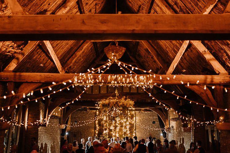 Wedding Reception Decor | Fairylights | Banquet Tables | Fairylight Tythe Barn Wedding with Dreamcatchers | New Forest Studio Photography