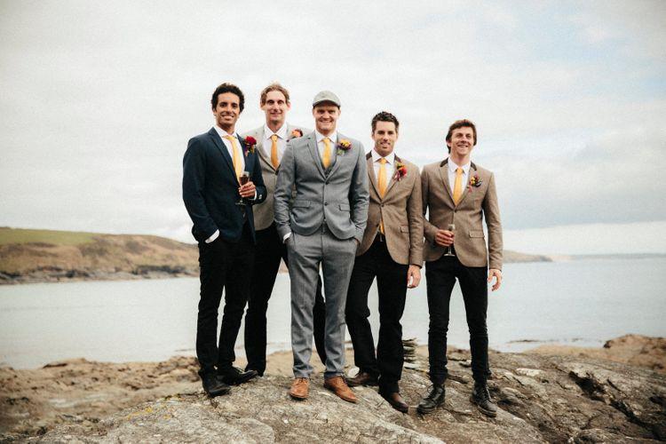 Groomsmen In Yellow Ties // Ben Selway Photography // Prussia Cove Cornwall