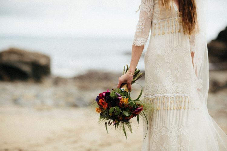 Bride In Boho Dress With Gold Tassels // Ben Selway Photography // Prussia Cove Cornwall