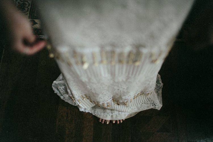 Bride With Gold Tassel Wedding Dress // Ben Selway Photography // Prussia Cove Cornwall
