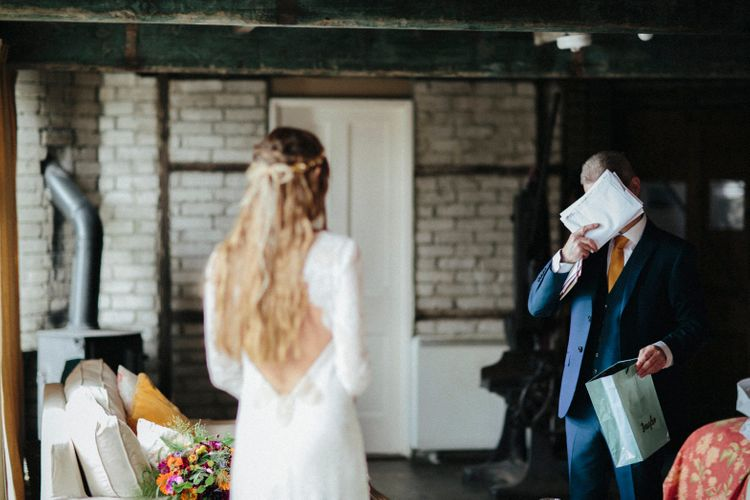 Bride With Ribbon In Her Hair // Ben Selway Photography // Prussia Cove Cornwall