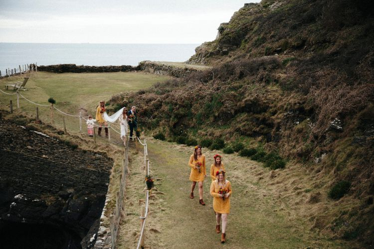 Yellow Bridesmaids Dresses For A Moroccan Inspired Wedding By The Sea // Ben Selway Photography // Prussia Cove Cornwall