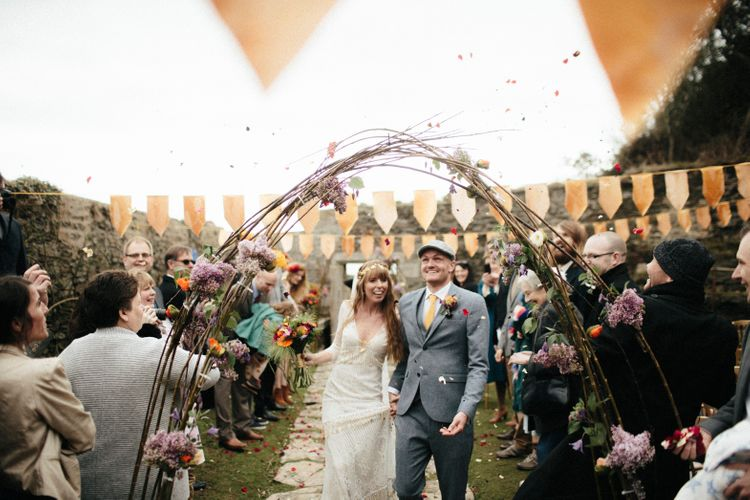 Outdoor Wedding Ceremony // Yellow Bridesmaids Dresses For A Moroccan Inspired Wedding By The Sea // Ben Selway Photography // Prussia Cove Cornwall