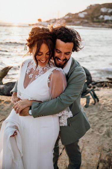Lace trim wedding capelet for bride at Mykonos wedding