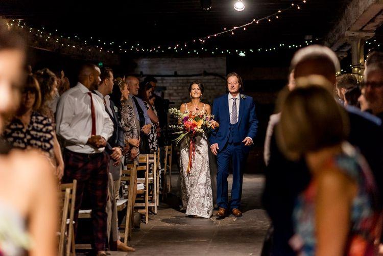 Wedding ceremony bridal entrance in Grace Loves Lace Rosa wedding dress