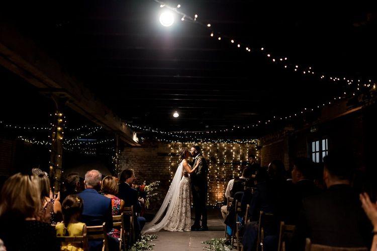 Trinity Buoy Wharf wedding ceremony with fairy lights