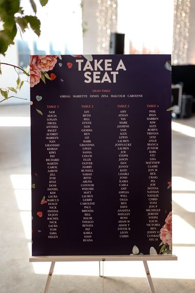 navy and floral installation seating chart
