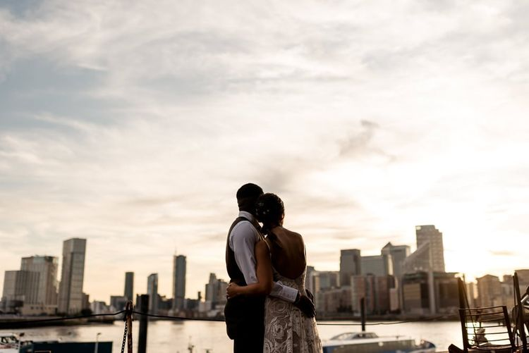 Couple Portraits with Bride in Grace Loves Lace Rosa wedding dress