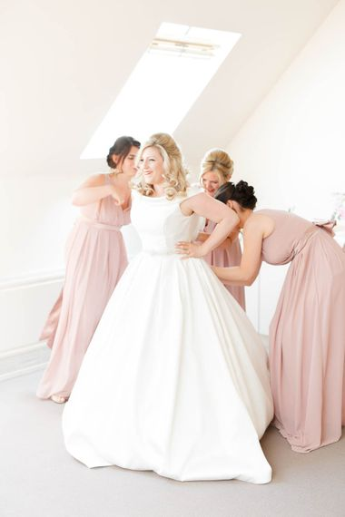 Bride In Classic And Elegant Ronald Joyce Dress