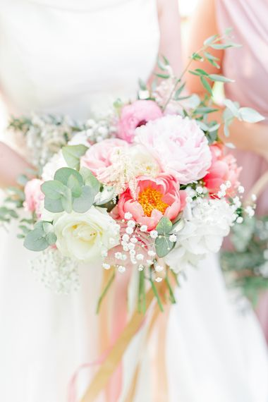 Hyde House Cotswolds Wedding With Coral Charm Peonies And Bridesmaids With Floral Hoop Bouquets Images From White Stag Wedding Photography Film Dan Dolan