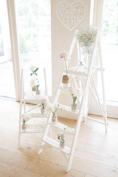 White Ladder Wedding Decor