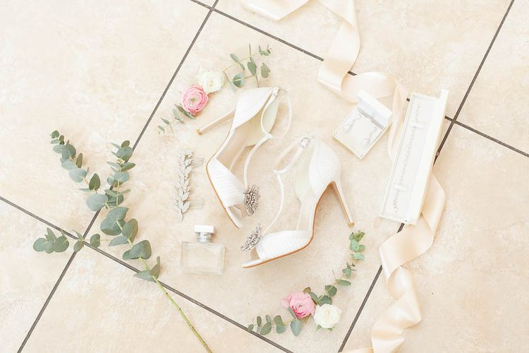 White Wedding Shoes With Silver Buckle