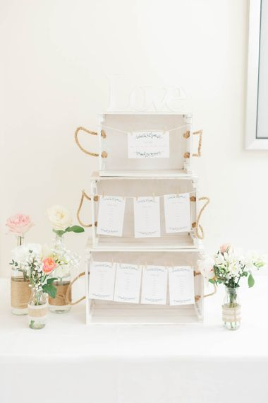 Wooden Box Table Plan // Hyde House Cotswolds Wedding With Coral Charm Peonies And Bridesmaids With Floral Hoop Bouquets Images From White Stag Wedding Photography Film Dan Dolan