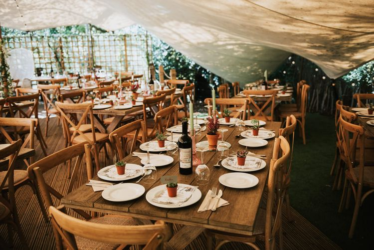Stretch Tent Wedding Reception at The Copse | Potted Succulent Place Settings | Pink Glass Candleholders | Mint Green Candles | Potted Ferns | Peacock Chairs, Sweetheart Table and Leather Jackets for Autumn Wedding at The Copse | Rosie Kelly Photography