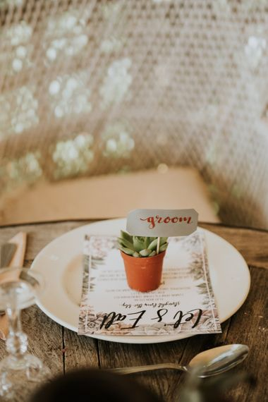 Potted Succulent Place Setting | Wedding Breakfast Menu | Peacock Chairs, Sweetheart Table and Leather Jackets for Autumn Wedding at The Copse | Rosie Kelly Photography
