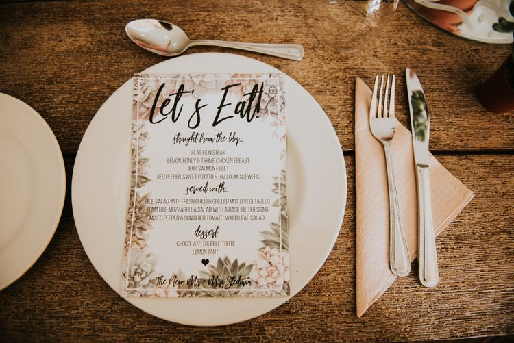 Wedding Breakfast Menu | Peacock Chairs, Sweetheart Table and Leather Jackets for Autumn Wedding at The Copse | Rosie Kelly Photography