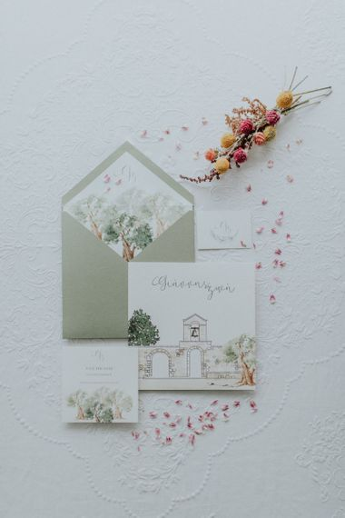 Wedding invitation design for destination wedding in Greece