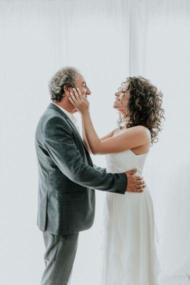 Bride in Max Mara wedding dress
