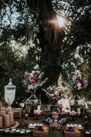 Pink flower wedding decor