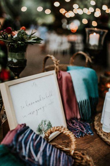 Wedding sign for blanket basket