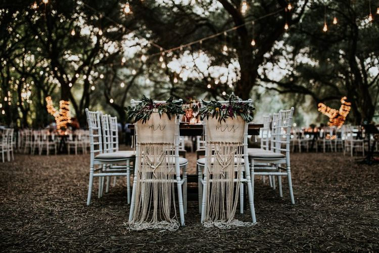 Wedding chair decor for bride and groom with macrame