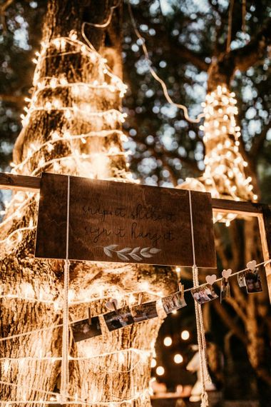 Wooden wedding sign with fairy lights