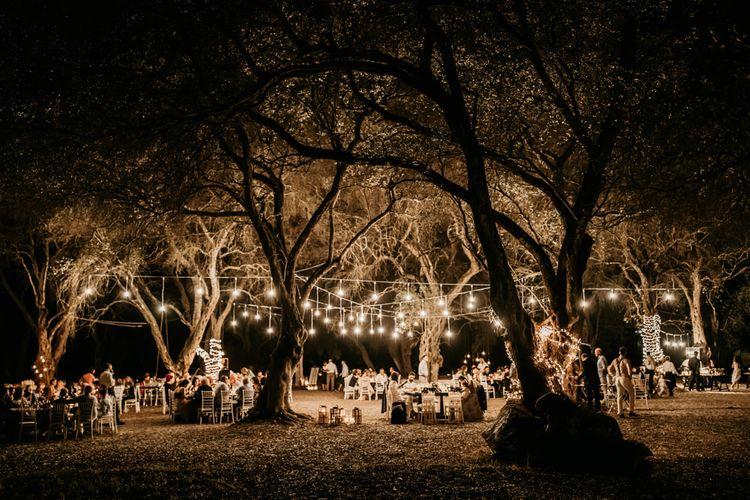 Festoon lighting at outdoor wedding