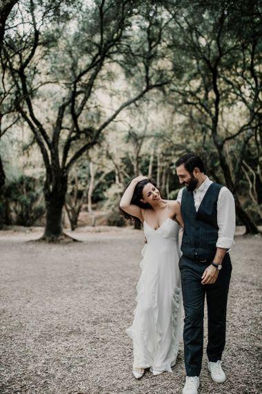 Ruffle detail Max Mara wedding dress