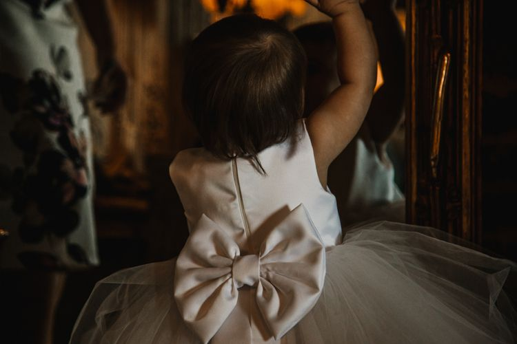 Cute Baby Flower Girl with Bow Back Dress