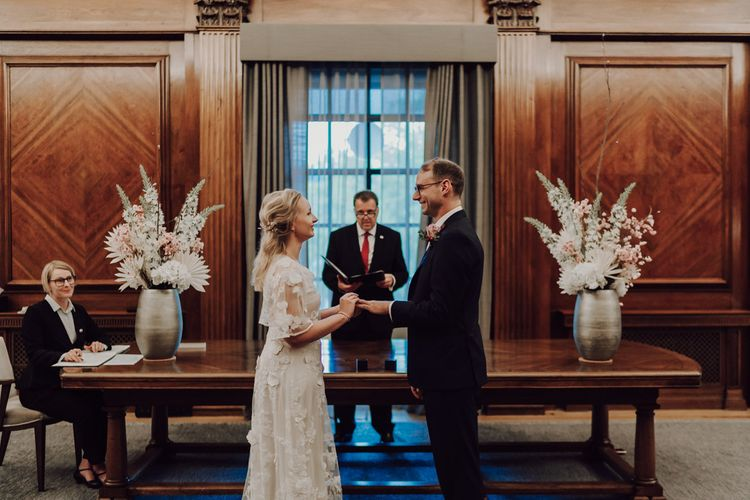 Bride and groom at town hall wedding