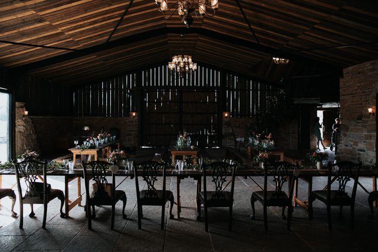 Intimate wedding reception at Willow Marsh Farm wedding venue